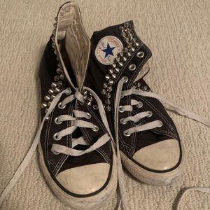 Black high top studded Converse